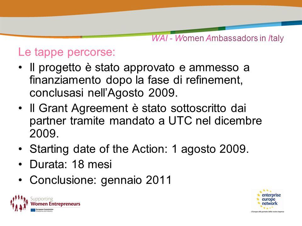 WAI - Women Ambassadors in Italy Le tappe percorse: Il progetto è stato approvato e ammesso a finanziamento dopo la fase di refinement, conclusasi nellAgosto 2009.