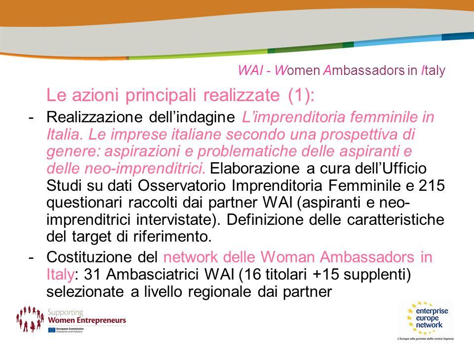 WAI - Women Ambassadors in Italy Le azioni principali realizzate (1): -Realizzazione dellindagine Limprenditoria femminile in Italia.