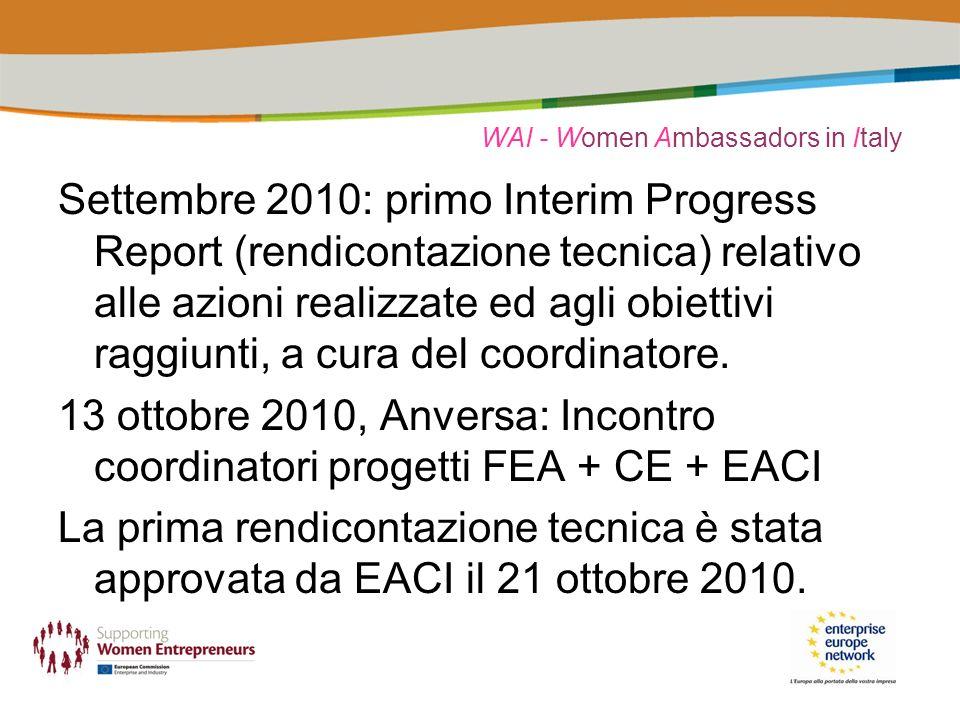WAI - Women Ambassadors in Italy Settembre 2010: primo Interim Progress Report (rendicontazione tecnica) relativo alle azioni realizzate ed agli obiettivi raggiunti, a cura del coordinatore.
