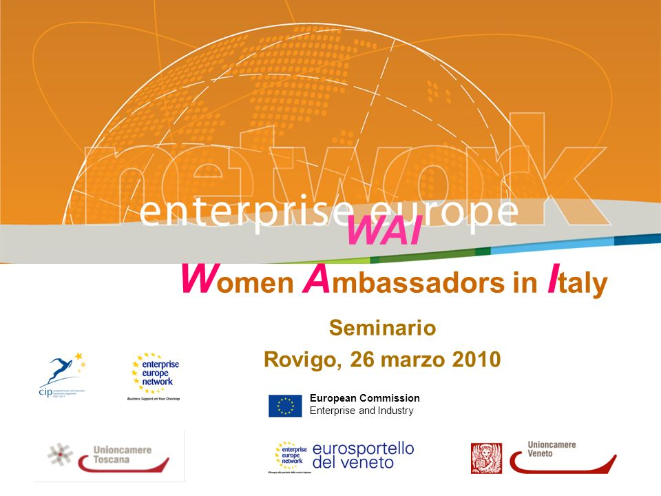 2 WAI Women Ambassadors in Italy WAI è un progetto cofinanziato dalla Commissione Europea, ammesso a finanziamento sulla Call for Proposal ENT/CIP/09/E/N08S00 – Specific Action – EU Network of Female Entrepreneurship Ambassador.