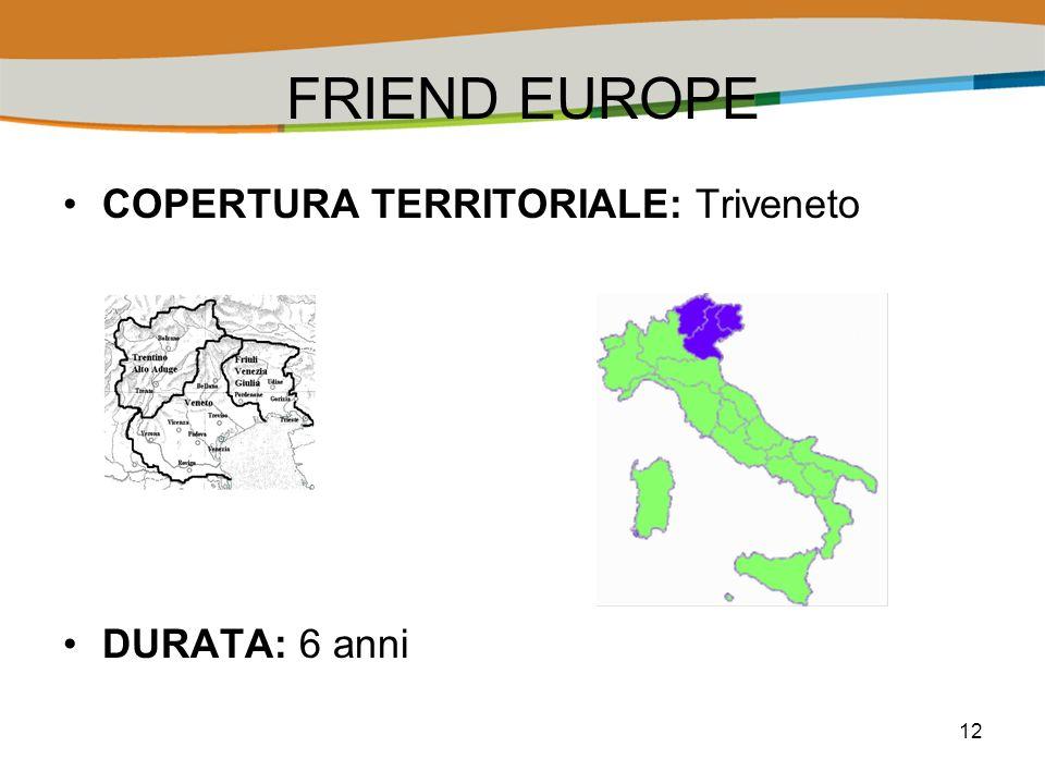 12 FRIEND EUROPE COPERTURA TERRITORIALE: Triveneto DURATA: 6 anni