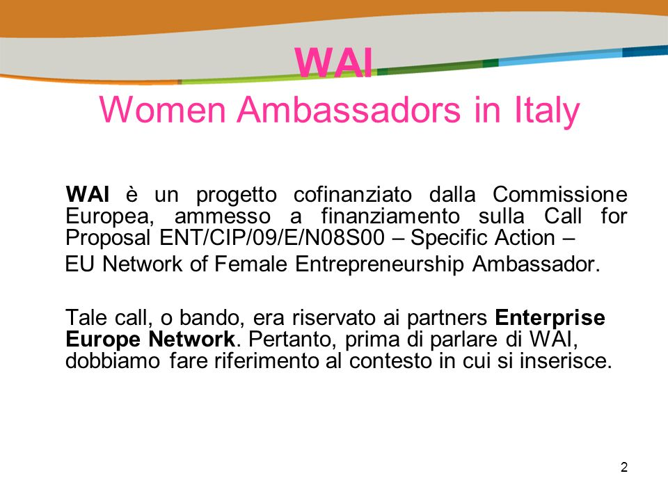 2 WAI Women Ambassadors in Italy WAI è un progetto cofinanziato dalla Commissione Europea, ammesso a finanziamento sulla Call for Proposal ENT/CIP/09/E/N08S00 – Specific Action – EU Network of Female Entrepreneurship Ambassador.