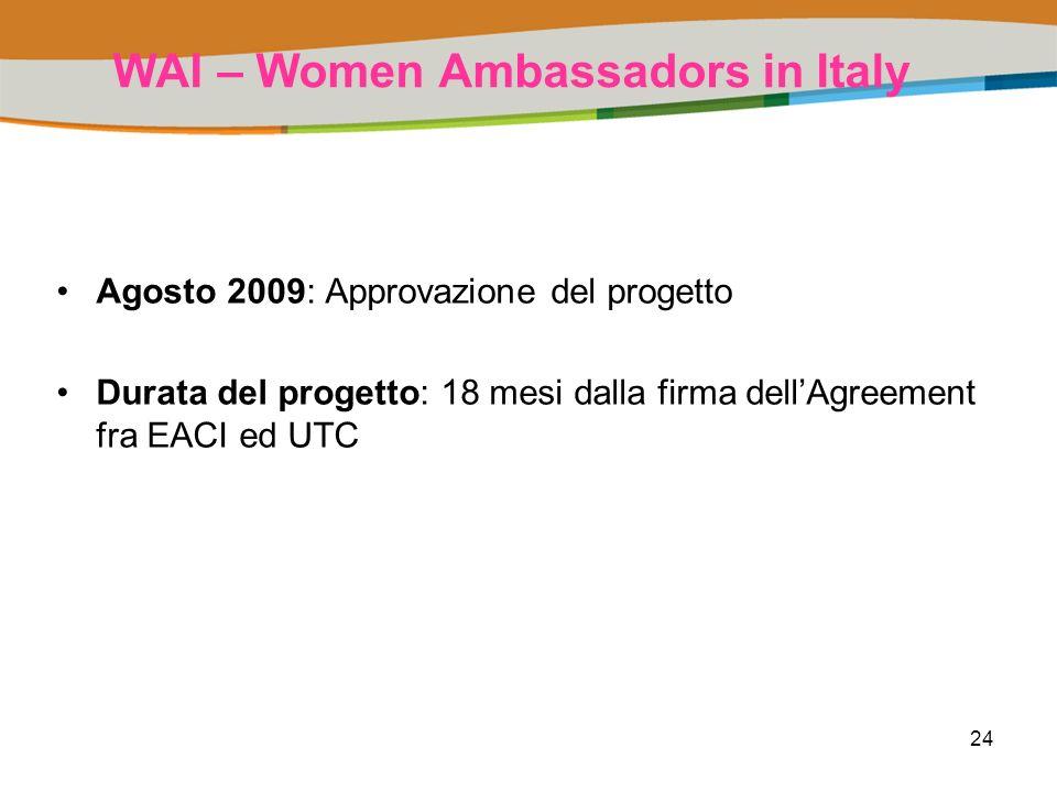 24 WAI – Women Ambassadors in Italy Agosto 2009: Approvazione del progetto Durata del progetto: 18 mesi dalla firma dellAgreement fra EACI ed UTC