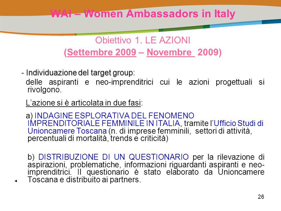 26 WAI – Women Ambassadors in Italy Obiettivo 1.