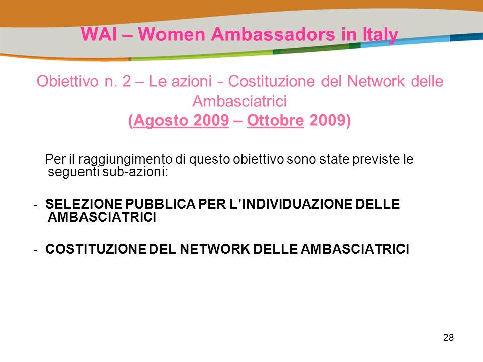 28 WAI – Women Ambassadors in Italy Obiettivo n.