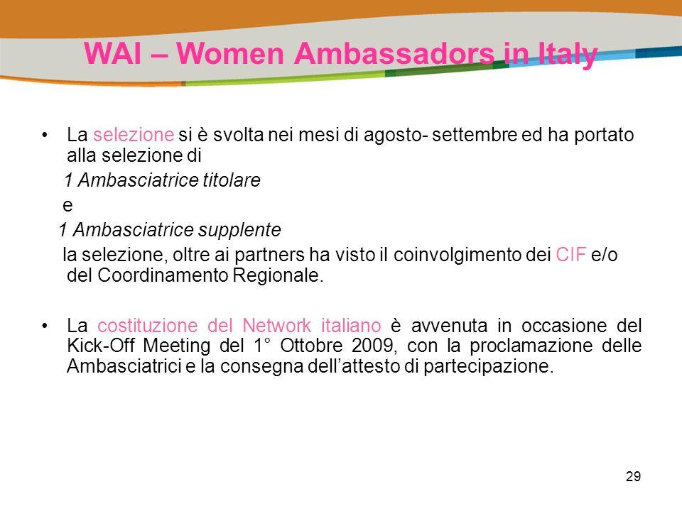 29 WAI – Women Ambassadors in Italy La selezione si è svolta nei mesi di agosto- settembre ed ha portato alla selezione di 1 Ambasciatrice titolare e 1 Ambasciatrice supplente la selezione, oltre ai partners ha visto il coinvolgimento dei CIF e/o del Coordinamento Regionale.