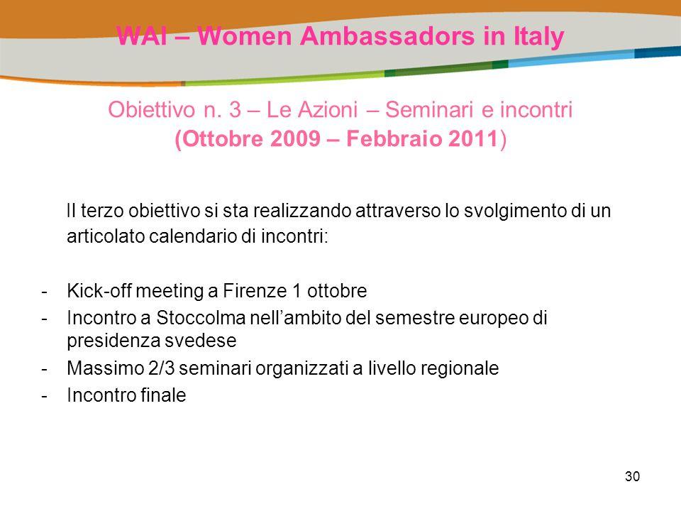 30 WAI – Women Ambassadors in Italy Obiettivo n.