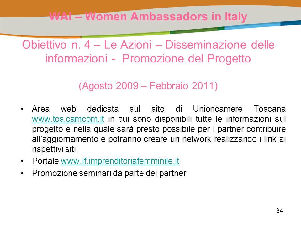 34 WAI – Women Ambassadors in Italy Obiettivo n.