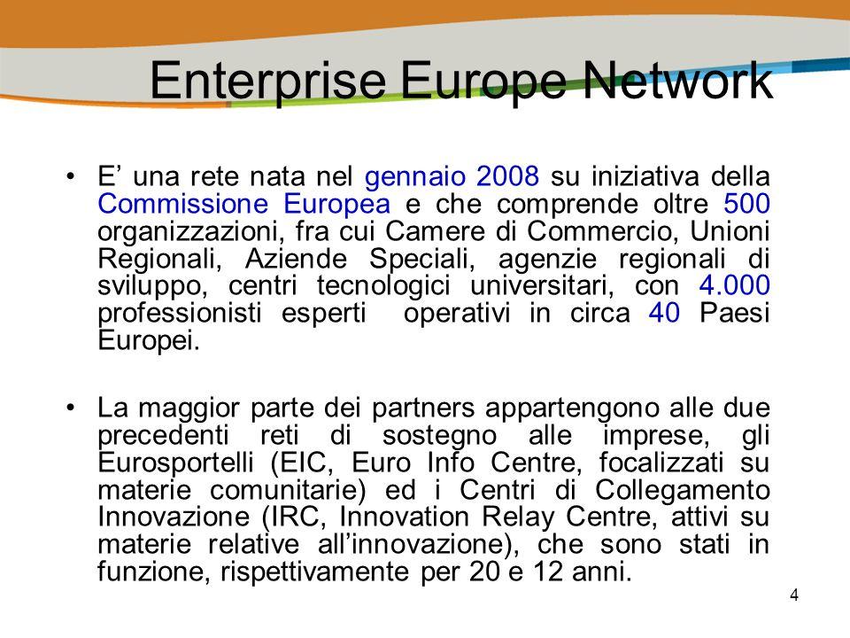 5 Gli obiettivi di Enterprise Europe Network Lobiettivo della rete Enterprise Europe Network è quello di sostenere le piccole e medie imprese nello sviluppo del loro potenziale di innovazione e sensibilizzarle nei confronti delle politiche della Commissione.