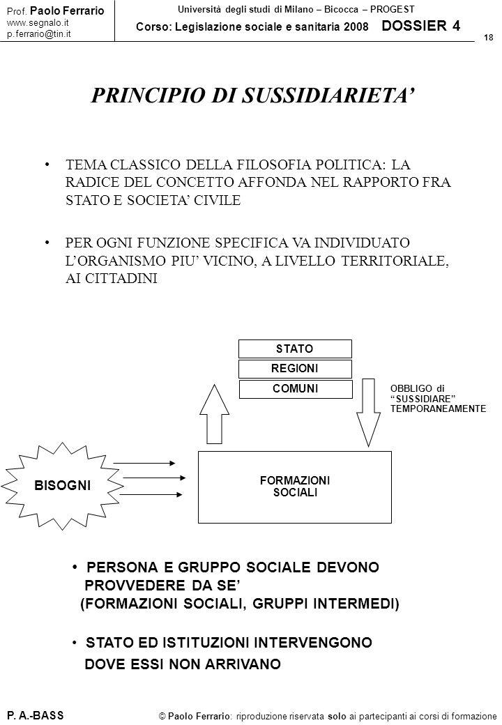 18 © Paolo Ferrario: riproduzione riservata solo ai partecipanti ai corsi di formazione Prof. Paolo Ferrario www.segnalo.it p.ferrario@tin.it Universi