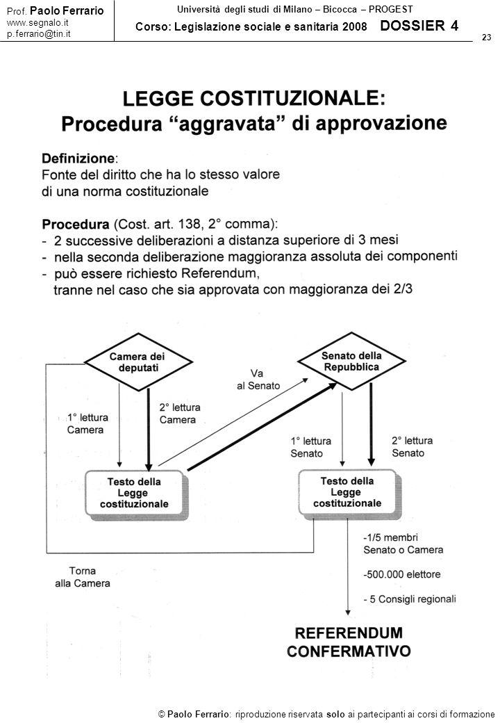 23 © Paolo Ferrario: riproduzione riservata solo ai partecipanti ai corsi di formazione Prof. Paolo Ferrario www.segnalo.it p.ferrario@tin.it Universi