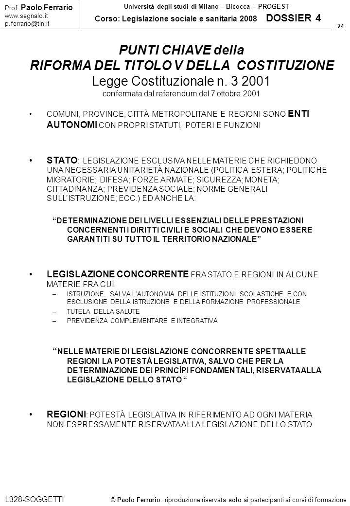 24 © Paolo Ferrario: riproduzione riservata solo ai partecipanti ai corsi di formazione Prof. Paolo Ferrario www.segnalo.it p.ferrario@tin.it Universi