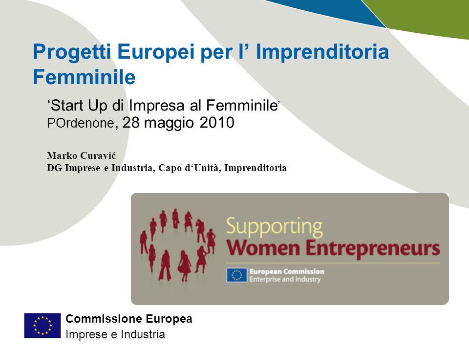 Commissione Europea Imprese e Industria Le PMI in Europa Hanno meno di 250 addetti, un fatturato fino a 50 milioni (o un bilancio fino a 43) e rappresentano: 99,8 % delle imprese 67% dei posti di lavoro 80% dei nuovi posti di lavoro 57% del valore aggiunto 92% impiegano meno di 10 persone http://ec.europa.eu/enterprise/enterprise_policy/sme_definition/index_en.htm http://ec.europa.eu/enterprise/entrepreneurship/facts_figures.htm