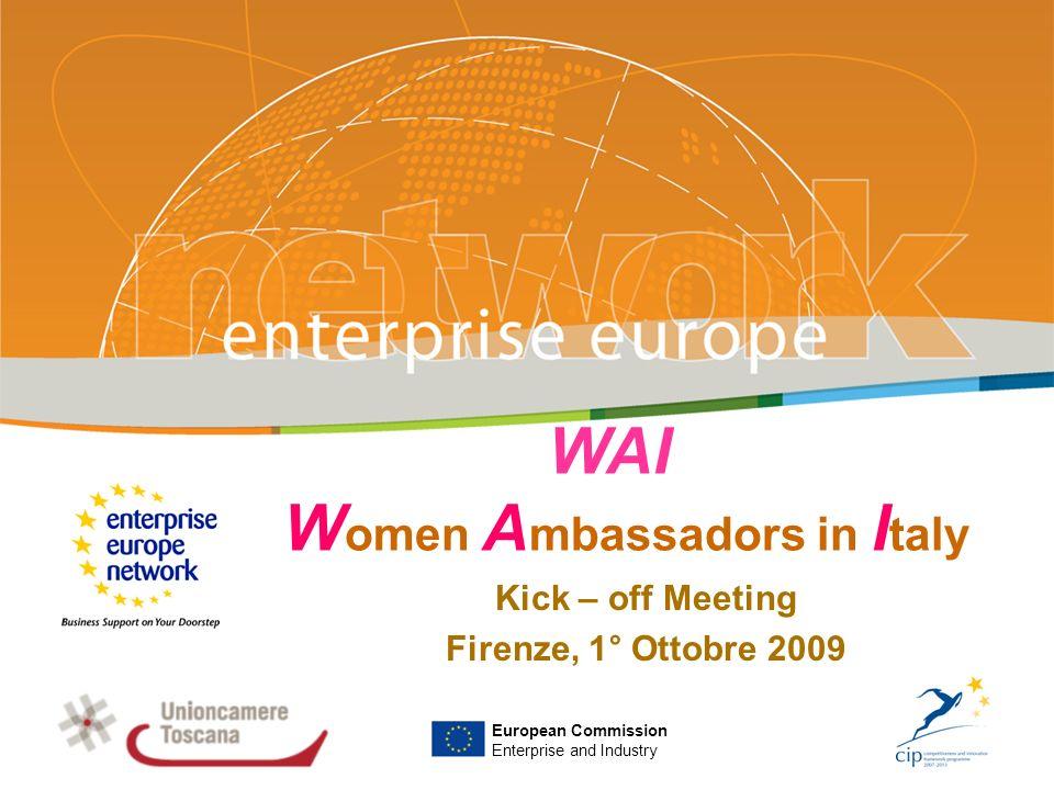 WAI Women Ambassadors in Italy WAI è un progetto cofinanziato dalla Commissione Europea, ammesso a finanziamento sulla Call for Proposal ENT/CIP/09/E/N08S00 – Specific Action – EU Network of Female Entrepreneurship Ambassador.