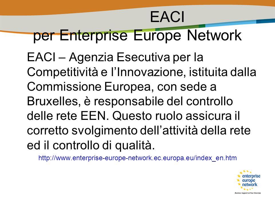 EACI – Agenzia Esecutiva per la Competitività e lInnovazione, istituita dalla Commissione Europea, con sede a Bruxelles, è responsabile del controllo