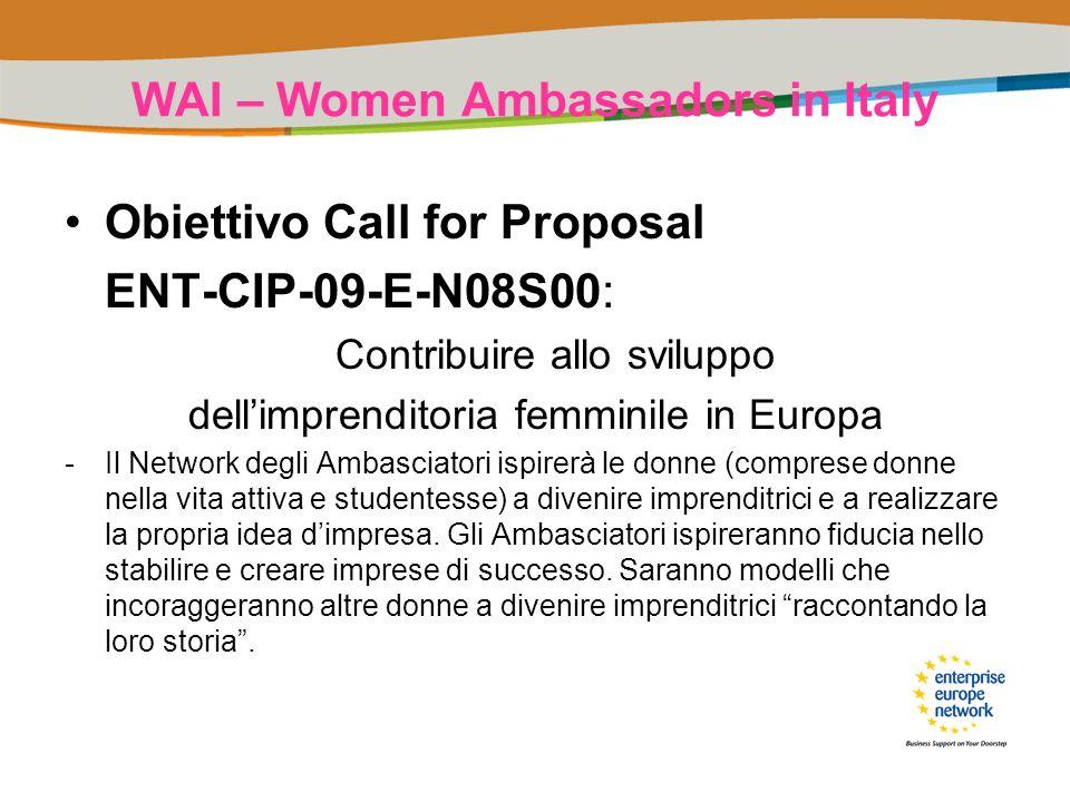 WAI – Women Ambassadors in Italy Obiettivo Call for Proposal ENT-CIP-09-E-N08S00: Contribuire allo sviluppo dellimprenditoria femminile in Europa -Il