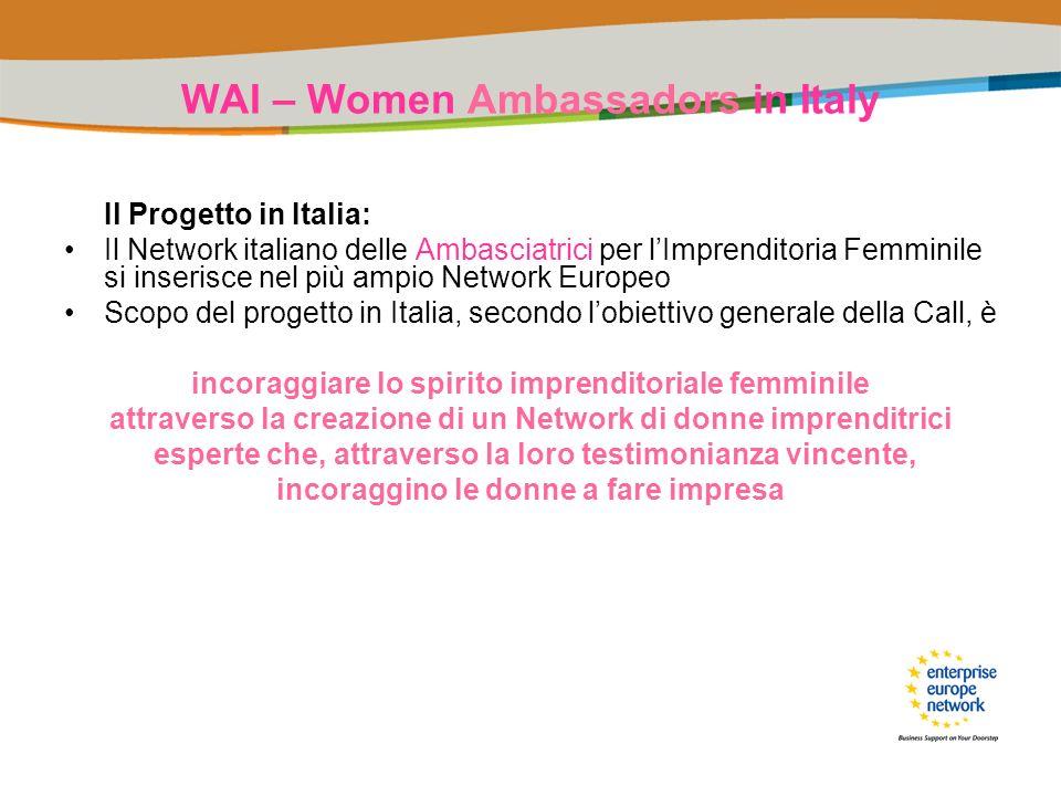 WAI – Women Ambassadors in Italy Il Progetto in Italia: Il Network italiano delle Ambasciatrici per lImprenditoria Femminile si inserisce nel più ampi