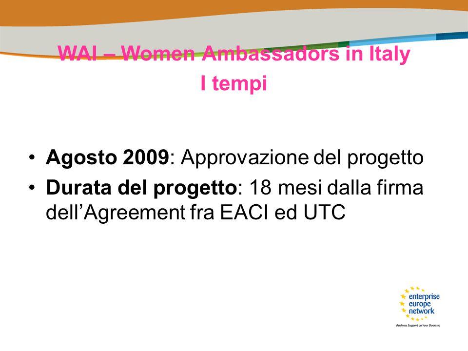 WAI – Women Ambassadors in Italy I tempi Agosto 2009: Approvazione del progetto Durata del progetto: 18 mesi dalla firma dellAgreement fra EACI ed UTC
