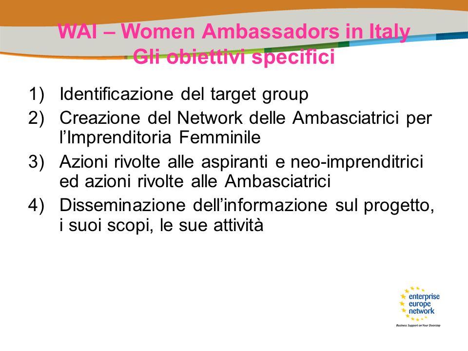 WAI – Women Ambassadors in Italy Gli obiettivi specifici 1)Identificazione del target group 2)Creazione del Network delle Ambasciatrici per lImprendit