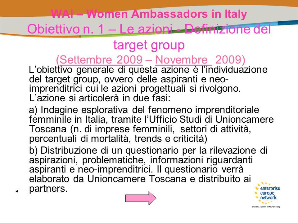 WAI – Women Ambassadors in Italy Obiettivo n. 1 – Le azioni - Definizione del target group (Settembre 2009 – Novembre 2009) Lobiettivo generale di que