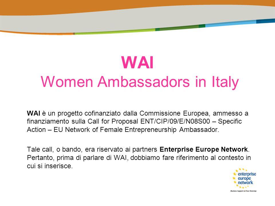 –Enterprise Europe Network –WAI – Women Ambassadors in Italy Il progetto, gli scopi, le attività, i tempi, i risultati attesi.