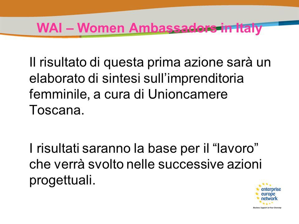 WAI – Women Ambassadors in Italy Il risultato di questa prima azione sarà un elaborato di sintesi sullimprenditoria femminile, a cura di Unioncamere T