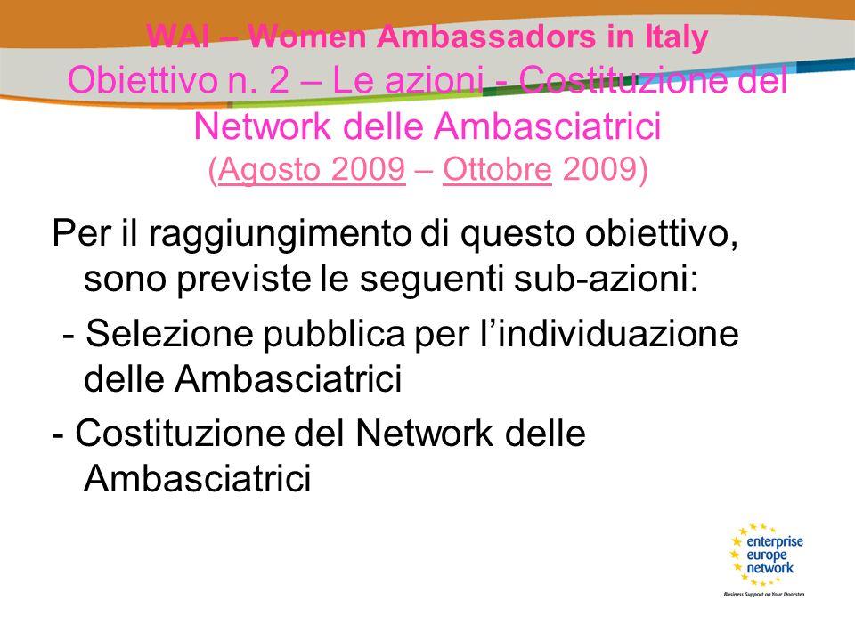 WAI – Women Ambassadors in Italy Obiettivo n. 2 – Le azioni - Costituzione del Network delle Ambasciatrici (Agosto 2009 – Ottobre 2009) Per il raggiun