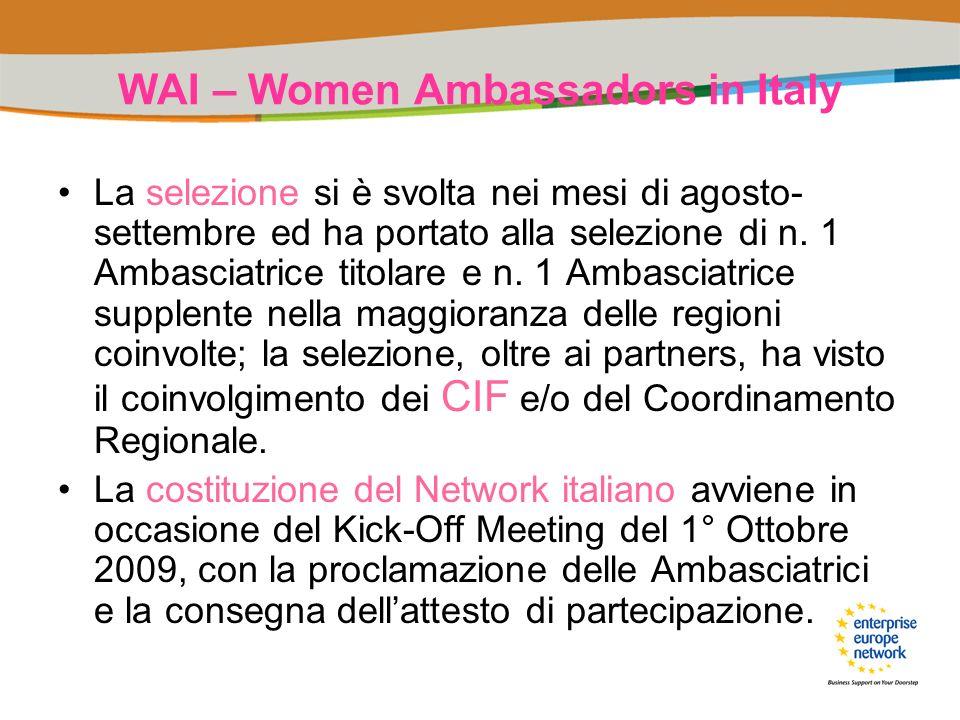 WAI – Women Ambassadors in Italy La selezione si è svolta nei mesi di agosto- settembre ed ha portato alla selezione di n. 1 Ambasciatrice titolare e