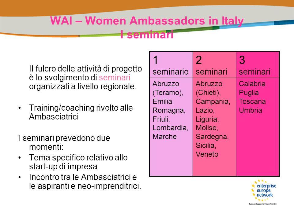 WAI – Women Ambassadors in Italy I seminari Il fulcro delle attività di progetto è lo svolgimento di seminari organizzati a livello regionale. Trainin