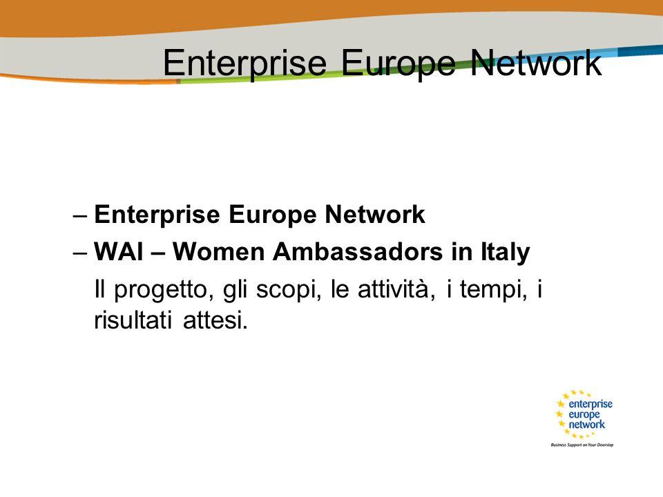 WAI – Women Ambassadors in Italy Obiettivo Call for Proposal ENT-CIP-09-E-N08S00: Contribuire allo sviluppo dellimprenditoria femminile in Europa -Il Network degli Ambasciatori ispirerà le donne (comprese donne nella vita attiva e studentesse) a divenire imprenditrici e a realizzare la propria idea dimpresa.