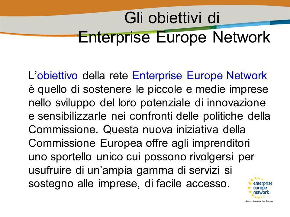 I vantaggi di Enterprise Europe Network Enterprise Europe Network offre un innegabile vantaggio: consiste nel fatto che tutti i servizi fanno capo ad uno sportello unico, riducendo lonere burocratico e il disorientamento che si devono affrontare quando non si ha certezza dellorganizzazione alla quale rivolgersi per risolvere una questione.