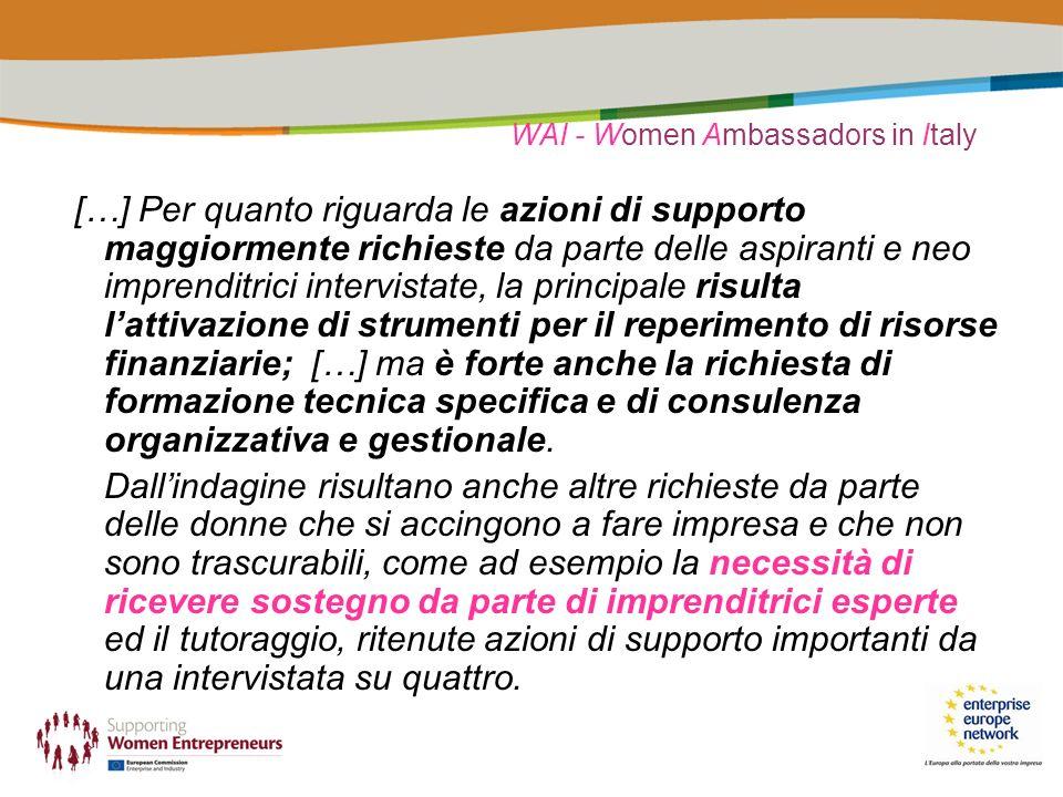 WAI - Women Ambassadors in Italy […] Per quanto riguarda le azioni di supporto maggiormente richieste da parte delle aspiranti e neo imprenditrici intervistate, la principale risulta lattivazione di strumenti per il reperimento di risorse finanziarie; […] ma è forte anche la richiesta di formazione tecnica specifica e di consulenza organizzativa e gestionale.