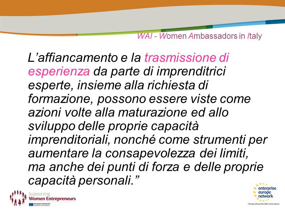 WAI - Women Ambassadors in Italy Laffiancamento e la trasmissione di esperienza da parte di imprenditrici esperte, insieme alla richiesta di formazione, possono essere viste come azioni volte alla maturazione ed allo sviluppo delle proprie capacità imprenditoriali, nonché come strumenti per aumentare la consapevolezza dei limiti, ma anche dei punti di forza e delle proprie capacità personali.
