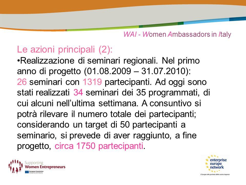 WAI - Women Ambassadors in Italy Le azioni principali (2): Realizzazione di seminari regionali. Nel primo anno di progetto (01.08.2009 – 31.07.2010):