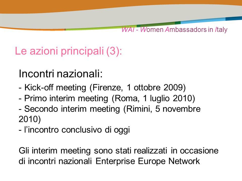 WAI - Women Ambassadors in Italy Le azioni principali (3): Incontri nazionali: - Kick-off meeting (Firenze, 1 ottobre 2009) - Primo interim meeting (Roma, 1 luglio 2010) - Secondo interim meeting (Rimini, 5 novembre 2010) - lincontro conclusivo di oggi Gli interim meeting sono stati realizzati in occasione di incontri nazionali Enterprise Europe Network