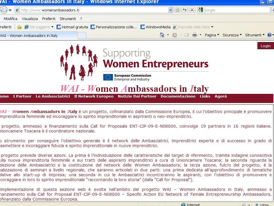 WAI - Women Ambassadors in Italy Il sito di WAI: Home I partner Le Ambasciatrici Il Network Europeo Notizie dai partner Documentazione Links Agorà