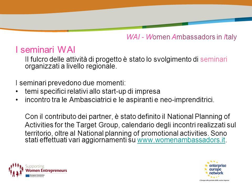 WAI - Women Ambassadors in Italy I seminari WAI Il fulcro delle attività di progetto è stato lo svolgimento di seminari organizzati a livello regional