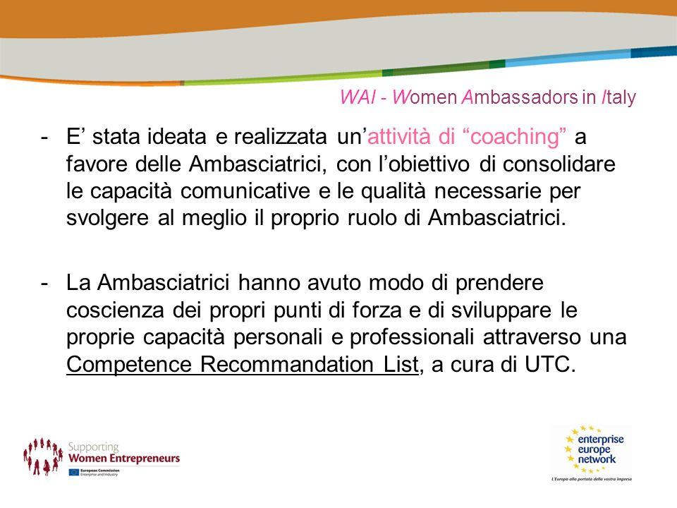 WAI - Women Ambassadors in Italy -E stata ideata e realizzata unattività di coaching a favore delle Ambasciatrici, con lobiettivo di consolidare le capacità comunicative e le qualità necessarie per svolgere al meglio il proprio ruolo di Ambasciatrici.