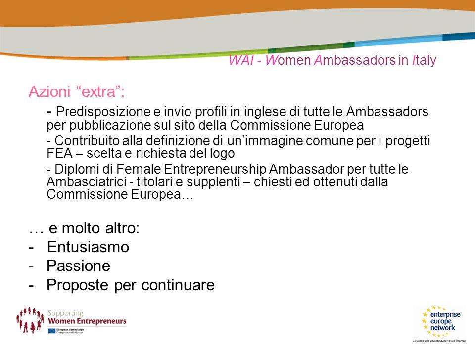 WAI - Women Ambassadors in Italy Azioni extra: - Predisposizione e invio profili in inglese di tutte le Ambassadors per pubblicazione sul sito della Commissione Europea - Contribuito alla definizione di unimmagine comune per i progetti FEA – scelta e richiesta del logo - Diplomi di Female Entrepreneurship Ambassador per tutte le Ambasciatrici - titolari e supplenti – chiesti ed ottenuti dalla Commissione Europea… … e molto altro: - Entusiasmo -Passione -Proposte per continuare