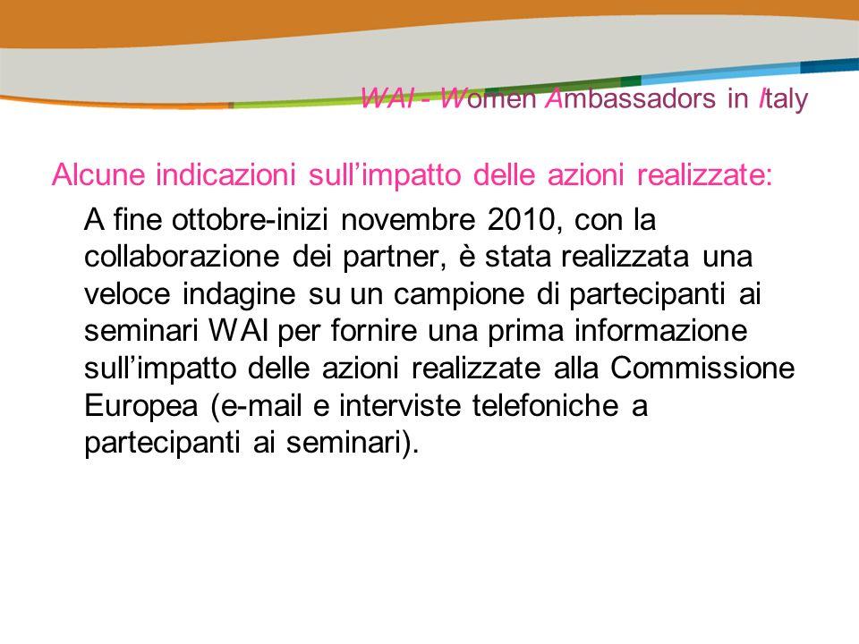 WAI - Women Ambassadors in Italy Alcune indicazioni sullimpatto delle azioni realizzate: A fine ottobre-inizi novembre 2010, con la collaborazione dei partner, è stata realizzata una veloce indagine su un campione di partecipanti ai seminari WAI per fornire una prima informazione sullimpatto delle azioni realizzate alla Commissione Europea (e-mail e interviste telefoniche a partecipanti ai seminari).