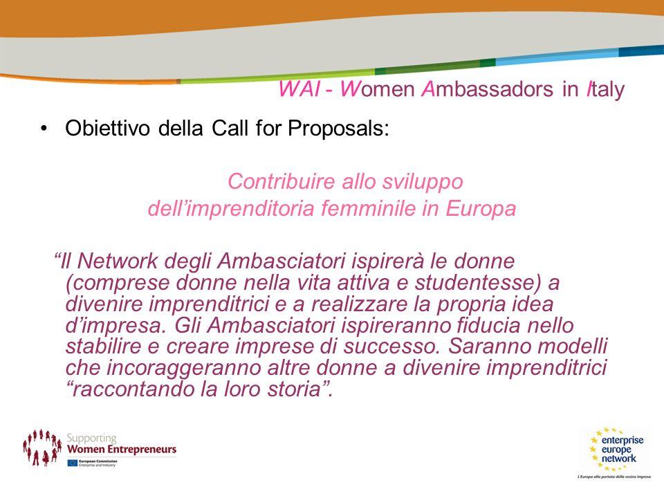 WAI - Women Ambassadors in Italy Obiettivo della Call for Proposals: Contribuire allo sviluppo dellimprenditoria femminile in Europa Il Network degli