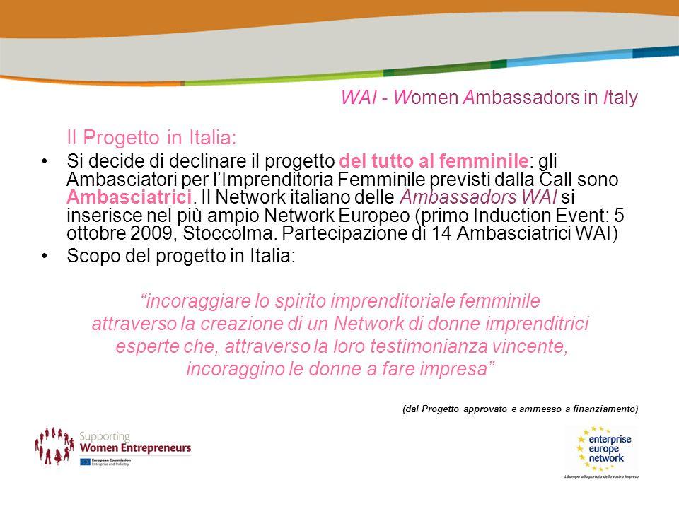 WAI - Women Ambassadors in Italy Il Progetto in Italia: Si decide di declinare il progetto del tutto al femminile: gli Ambasciatori per lImprenditoria Femminile previsti dalla Call sono Ambasciatrici.