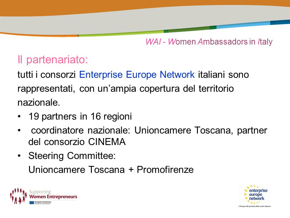 WAI - Women Ambassadors in Italy Il partenariato: tutti i consorzi Enterprise Europe Network italiani sono rappresentati, con unampia copertura del te