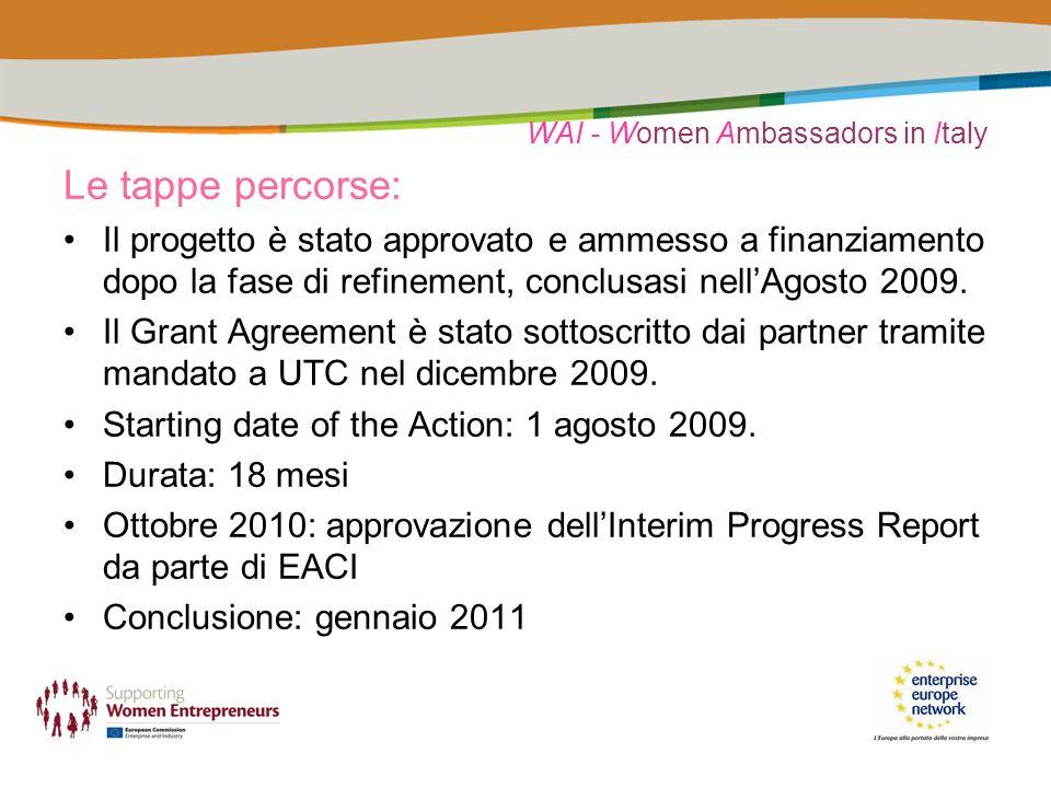 WAI - Women Ambassadors in Italy Le tappe percorse: Il progetto è stato approvato e ammesso a finanziamento dopo la fase di refinement, conclusasi nel