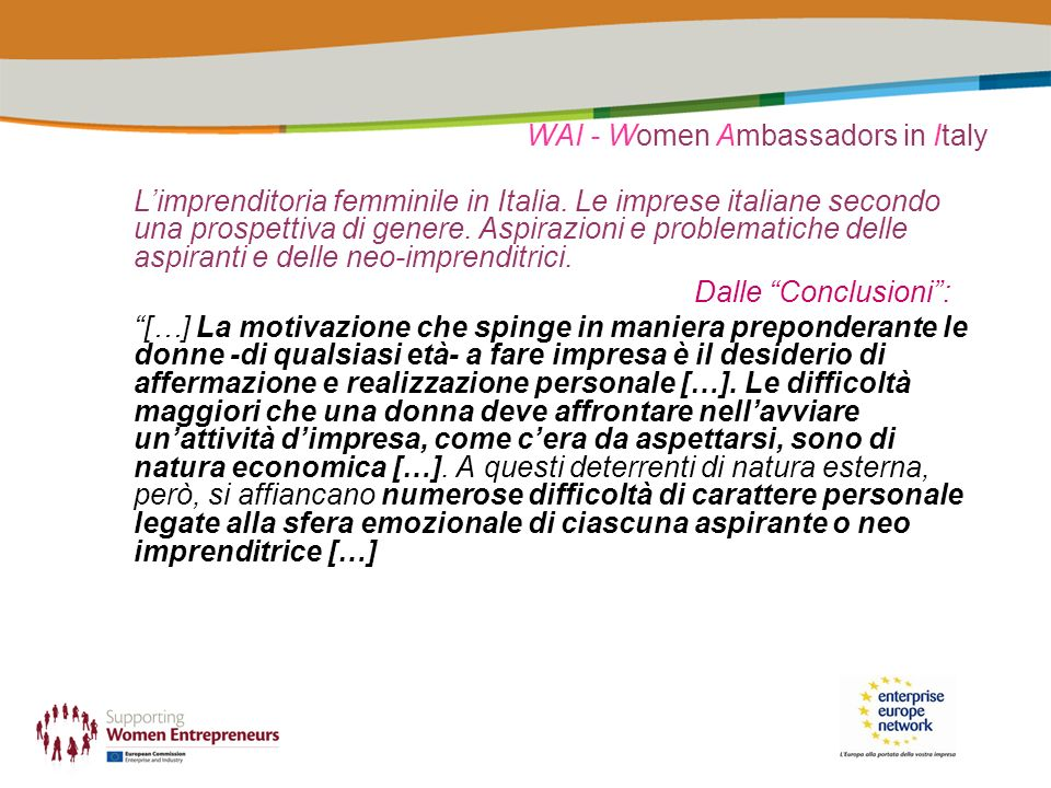 WAI - Women Ambassadors in Italy Limprenditoria femminile in Italia.