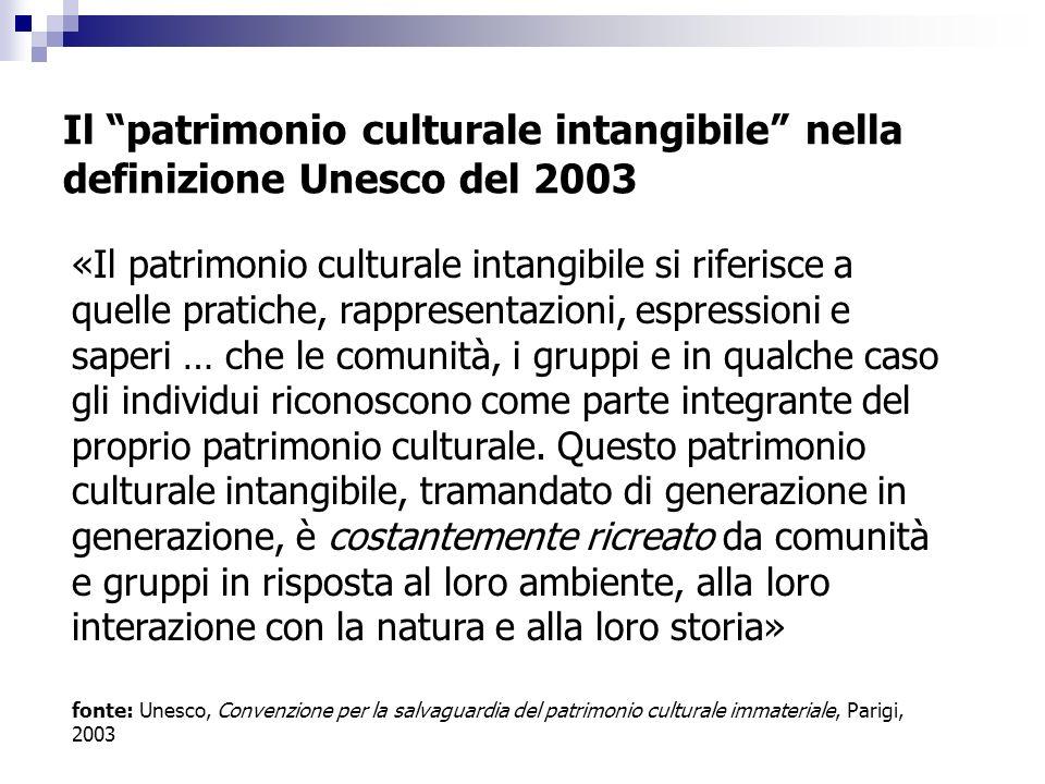 Il patrimonio culturale intangibile nella definizione Unesco del 2003 «Il patrimonio culturale intangibile si riferisce a quelle pratiche, rappresentazioni, espressioni e saperi … che le comunità, i gruppi e in qualche caso gli individui riconoscono come parte integrante del proprio patrimonio culturale.