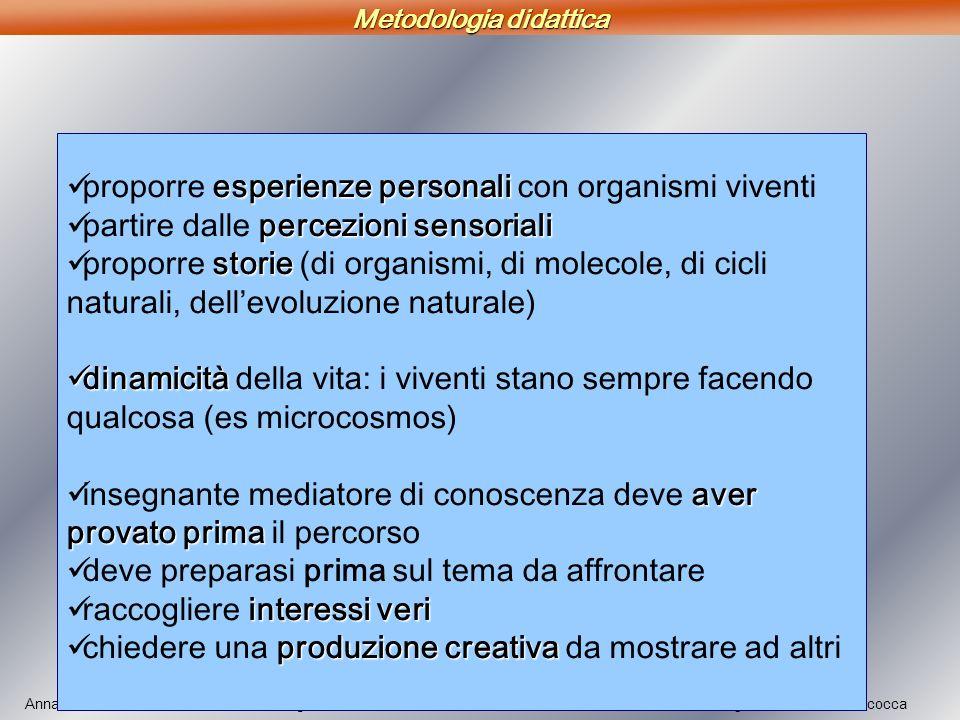 Annastella Gambini – Didattica della Biologia Università degli Studi di Milano-Bicocca esperienze personali proporre esperienze personali con organism