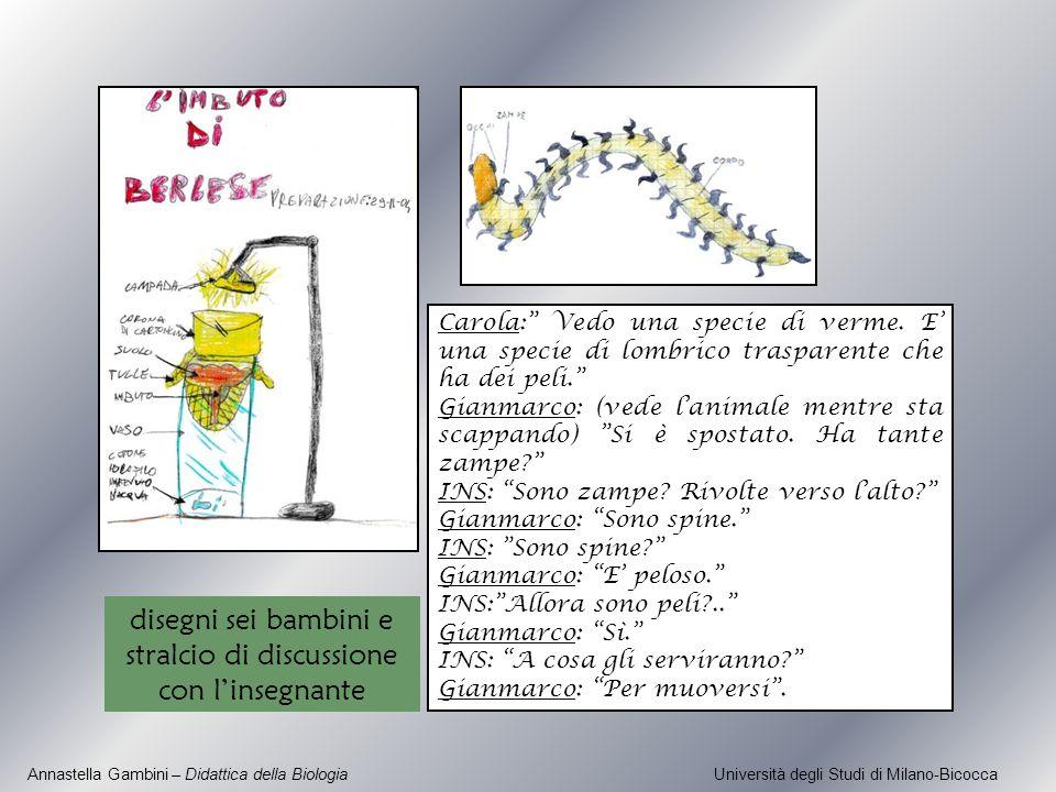 Annastella Gambini – Didattica della Biologia Università degli Studi di Milano-Bicocca Carola: Vedo una specie di verme. E una specie di lombrico tras