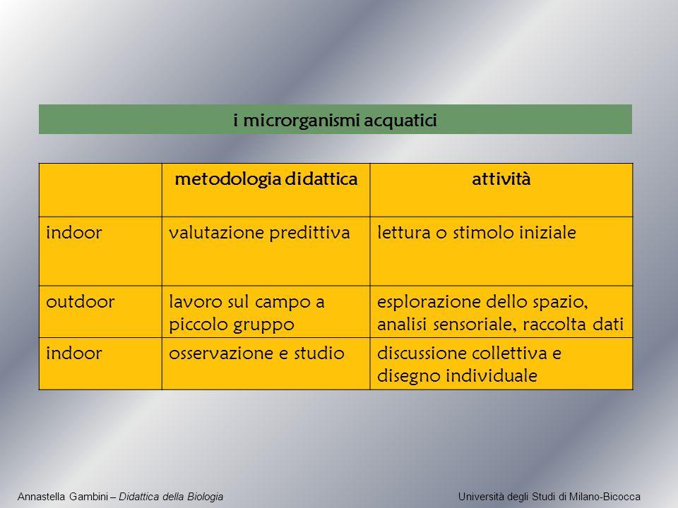 Annastella Gambini – Didattica della Biologia Università degli Studi di Milano-Bicocca metodologia didatticaattività indoorvalutazione predittivalettu