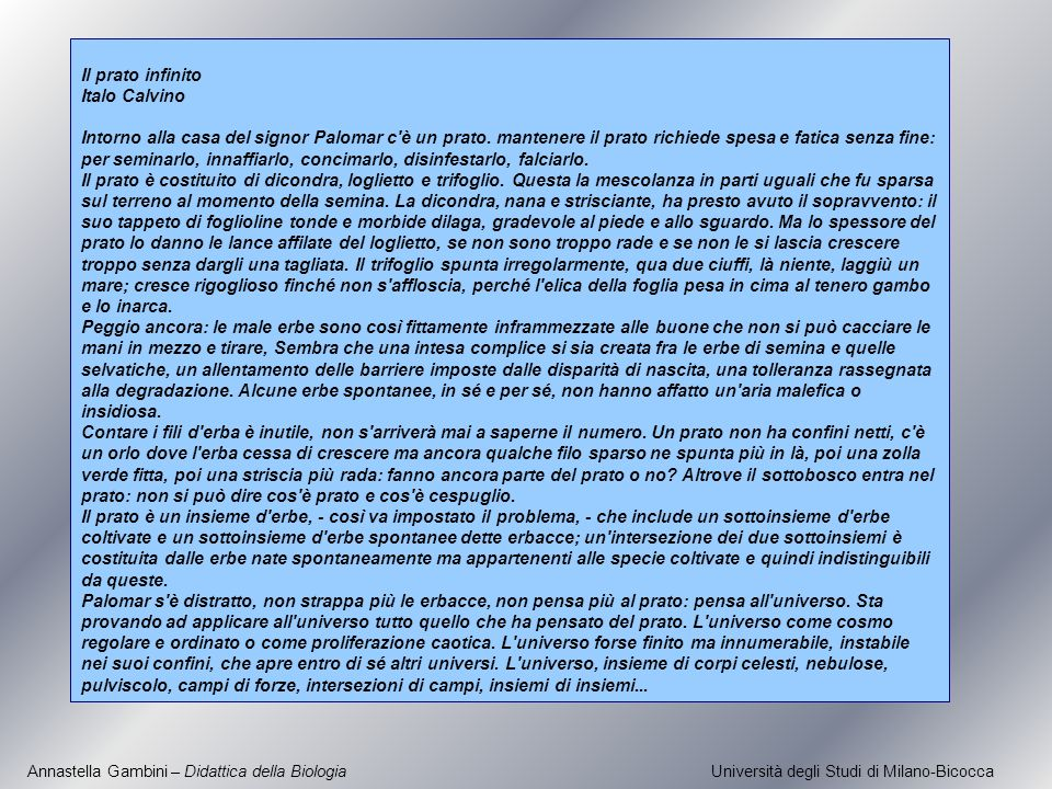 Annastella Gambini – Didattica della Biologia Università degli Studi di Milano-Bicocca Il prato infinito Italo Calvino Intorno alla casa del signor Pa